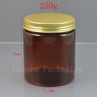 plastic screw bottle 2018 - 250g X 24 empty amber PET cosmetics cream wide mouth container with gold screw lid ,250ml plastic brown jar bottle plastic tin