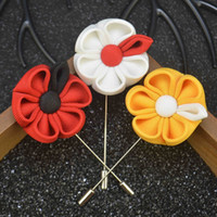 Wholesale Fabric Flowers Wholesale Price - exquisite flower brooch lapel pins handmade boutonniere stick with fabric flowers for gentleman suit wear men accessories wholesale price