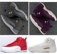 Barato Caixas De Ouro Roxo-High Quality Retro 12 Dark Grey Bordeaux Men Women Basketball Shoes 12s Dark Grey Gold Bordeaux Purple Sneakers With Shoes Box