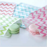 Wholesale Grease Paper - 25Pcs set Food Grease Proof Paper Bag Wavy Stripes Snack Kids Candy Buffet Favor Gift Wedding Birthday Party Supplies