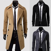 Wholesale Black Trenchcoat - Fashion New Long Trench Coat Men Breasted Decoration Slim Fit Pea Coat Winter Trenchcoat Jacket free shipping