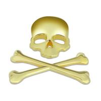 ingrosso badge del cranio in metallo-3D Skull Metal Skeleton Crossbones Auto Motorcle Sticker Etichetta Skull Emblem Badge Car Styling Adesivi Accessori