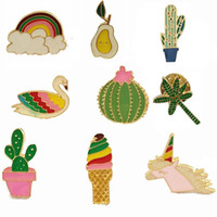 Wholesale Enamel Gold Jewellery - wholesale 10pcs  lot costume jewellery bag jean hat accessories metal enamel rainbow cactus unicorn pin brooch button badge