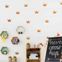 Wholesale Crown Packaging - DIY Wall Sticker Mini Princess Crown Wall Decal For Party Labels Decoration Kids Girl Wall Décor Color Gold Silver Pink Black White Grey