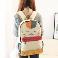 Wholesale Cute Cell Phone Plush - Japanese Girl Cute Face Print Pu Schoolbag Beige Plush Cat Canvas Backpack Women Student School Leisure Cartoon Book Laptop Bag