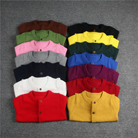 Wholesale Childrens Cardigan Sweaters Wholesale - 2017 ins Boy Girls Childrens Knit Cardigan Clothing 100% Cotton Long Sleeve Sweaters Tops Fashion Pinkycolor Outwear Enfant Clothes