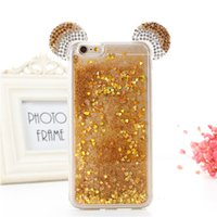 Wholesale Case Cover Minnie Iphone - Diamond Glitter Stars Dynamic Liquid Quicksand 3D Mickey Minnie Mouse Ears Rhinestone Phone Cases Cover For iPhone X 8 7 7Plus 6 6G 6S 6Plus