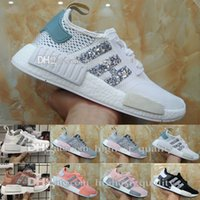 Wholesale Tri Color Mens Leather Shoes - Hot New Arrival NMD R1 Primeknit PK Tri color Women Mens Running Shoes Sneakers Nmds Runner Sequins Triple Black Originals Casual Athletics