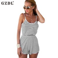 Wholesale Dresses Women Romper - GZDL Summer Sexy Women Spaghetti Strap Backless Striped Print Casual Tunic Beach Jumpsuit Romper Overall Macacao Feminino CL2042