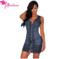 Wholesale Jeans Party Dress - Jeans Dresses 2016 Women Casual Summer Denim Sleeveless Button Down Sleeveless Dress Sexy Fit Vestidos Party LC22675 17410