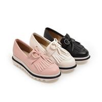 Wholesale Vintage Brogues - 2017 Oxfords Shoes Spring Vintage Tassel Platform Brogue Shoes Woman British Style Slip On Flats 34-43