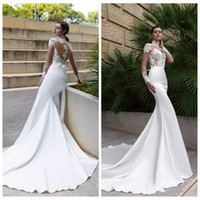 Wholesale Dress See Trough - Modest High Neck Long Sleeves Mermaid Wedding Dress Lace Appliques Slim Vestidos De Bridal Gowns See Trough Top
