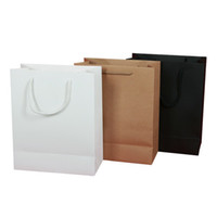 Wholesale Paper Shopping - Wholesale-10PCS Lot Kraft Paper Gift Bag With Handle 19X13X6cm Wedding Birthday Party Gift Christmas New Year Shopping Package Bags