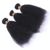 insan saçı örgü renk siyah toptan satış-Moğol Afro Kinky Kıvırcık İnsan Virgin Saç Örgüleri Çift Atkılar Doğal Siyah Renk 3 Demetleri çok 100g Paket Remy Saç Uzantıları