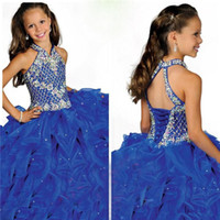 Wholesale Most Sold Dresses - Sell like hot cakes! Most Lovely Halter Sweep Train Ball Gown Pageant Girls Dresses Ruffles Organza