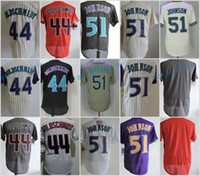 Johnson Gris Baratos-Arizona # 44 Paul Goldschmidt 51 Randy Johnson Jerseys en blanco de la base flexible Base fresca Reciclado cosido Rojo Blanco Beige Púrpura Gris Negro Malla R