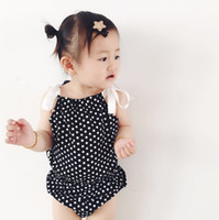 Wholesale Toddler Girl Suspender Outfits - Infants cute outfits Summer INS Baby girls cotton polka-dots bows suspender tank tops+dots shorts 2pcs sweet sets Toddler kids clothes C1820