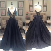 Sexy Beads Black Evening Dresses Long 2017 Spaghetti Encolure Plongée Backless Crystal A Line Robes de bal formelles Image réelle Party Dress