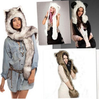 Wholesale womens fur scarves - 8 Styles Animal Fur Cap One Piece Winter Hats Women Cartoon Winter Cap Beanie With Neck Warmer Scarf Womens Hats Beanies CCA7467 10pcs