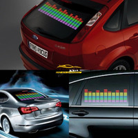 Wholesale Activated Equalizer Car - stickers free 1Pcs X Hot Sale Blue Car Sticker Music Rhythm LED Flash Lamp Sound Activated Equalizer Car Stickers Free Shipping