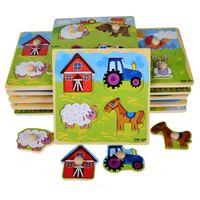 Wholesale Cartoon Peg - Small Wooden Animals Cartoon Grab Peg Knob Puzzles Toy 14.8*14.8*0.8CM
