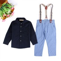 Wholesale Wholesale Boy Western Shirts - 2017 Western Summer New Fashion Handsome Boy Gentleman Shirt With Strap 2 Sets Pure Color Cotton Shirt Five Sizes Free Shipping
