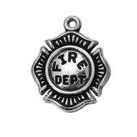 Wholesale Epaulets Accessories - Hot Sell Pendant Classic Antique Silver Plated US Fire Dept Epaulet Charms Jewelry Accessory