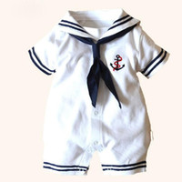 Wholesale White Photo Cloth - White Sailor suit newborn romper embroidery baby performance cloth boy rompers bowknot girl rompers uniform perfect for photo