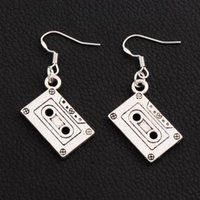 Wholesale fishing tapes - Music Cassette Tape Earrings 925 Silver Fish Ear Hook 30pairs lot Antique Silver Chandelier E258 44.3x16.28mm