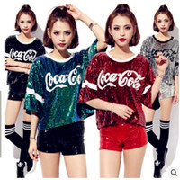 Wholesale New T Shirt Song - 2017Club T-shirt costumes new female song show jazz dance hip hop dance clothing coke sequined jacket