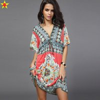 Wholesale Silk Mini Tunic Dress - Summer Women Dress Sexy Sundresses Deep V Ethnic Floral Print Tunic Beach Dresses Plus Size Casual Silk Dresses Boho Style