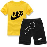 Wholesale Girls Red Tracksuits - 2017 summer Brand kids clothes set boys sport suit children short-sleeve T-shirt+shorts pant girls clothing jogging tracksuit