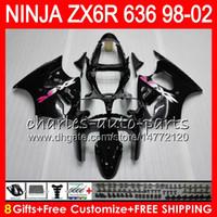 Wholesale Gloss Black Kawasaki Zx6r Fairings - 8Gifts For KAWASAKI NINJA ZX6R 98 99 00 01 02 ZX636 ZX-6R ZX-636 31HM1 gloss black 600CC ZX 636 ZX 6R 1998 1999 2000 2001 2002 Fairing kit