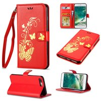 Wholesale Apple Ipone Cases - Luxury Butterfly Leather Case Bronzing Printing Leather Wallet Shell For iPone 8 7 6 6S Plus 5 5S S7 Edge S8 plus J3 j5 j7 emerge 2017 2016