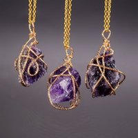 Wholesale Newest Jewelery - Wholesale-2016 Newest Fashion Irregular Natural Stone Statement Amethyst Necklace Pendant Gold Plated Necklace Jewelery