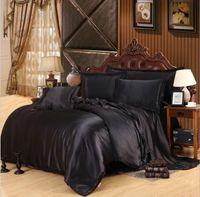 Wholesale Pure Silk Duvet Cover - Wholesale- HOT! 100% pure satin silk bedding set,Home Textile Queen King size bed set,bedclothes,duvet cover flat sheet pillowcases