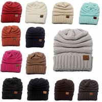 Wholesale Knitted Hats China - CC Knitted Hats CC Trendy Winter Beanie Warm Oversized Chunky Skull Caps Soft Cable Knit Slouchy Crochet Hats Fashion Hats Wine Glasses