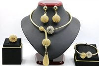 Wholesale Diamonds Big Necklace - indian gold plated necklace and earrings set African big gold jewelry set for wedding JH114
