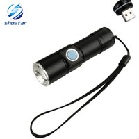 USB Handy LED Torch usb Flash Light Pocket LED Rechargeable Flashlight Zoomable Lamp Build-in 16340 Batterie pour Camping de chasse