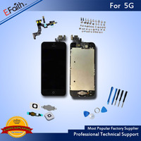 Atacado-Black Glass Touch Screen Digitizer LCD Assembly Replacement Para iPhone 5 5G com Home Button + Camera Frete Grátis