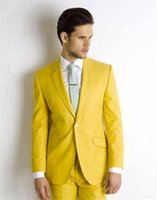 Wholesale Cheapest Mens Jackets - Wholesale- Yellow Wedding Suits For Mens Handsome Groom Tuxedos One Button Slim Fit Formal Best Man Party Prom Dress(Jacket+Pants)Cheapest