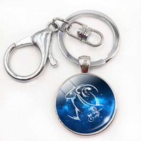 Wholesale Pisces Woman - Birthday Gift Cute Cabochon Zodiac Signs Keyrings Aries Leo Constellations Keychains Virgo Pisces Key Chains Rings Pendant Women