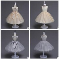 Wholesale Girls Pageant Costumes - Retail Girls Pageant Dresses Lace Big Size Bow Flower Girls Dress Backless Princess Wedding Party Kids Costume Baby Girls Clothes Clothing