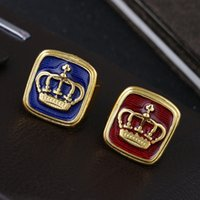 Wholesale wholesale hipster fashion - Hipster Hip hop exaggeration Domineering crown Blue Red Enamel 18k Gold Crown Ring Band Rings Biker ring for Men Fashion Jewelry 080244