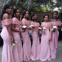 Wholesale formal pink shirt design for sale - 2017 African New Design Pink Mermaid Bridesmaid Dresses Sequins Off Shoulder Maid Of Honor Dresses Formal Dresses For Weddings Party