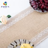 Wholesale Table Linens Skirt - New Vintage linen table Runner table flag wedding decoration Skirt round of table natural jute burlap