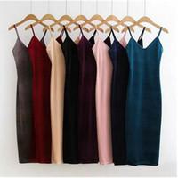 Wholesale Aa Side - Wholesale- Sexy AA Backless V neck Sleeveless Side Slit Velvet Dress 2016 New Women BM Retro Velour Long Spaghetti Strap Base Dress 8 color