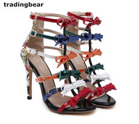 Ladies Fashion High Heel Pumps T Strappy Rainbow Color Bowtie Printed PU Leather Shoes Party Club Tamanho 35 a 40