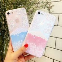 Wholesale Japanese Cover Phone - For iphone6s plus cell phone cases with iphone7 8 Electroplating two - in - one embossed painted Japanese cherry volcano protective cover
