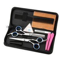 Wholesale Adult Hair Clipper - 5pcs Hairdressing Tools 6.0 inch Barber Scissors Kits Hair Clipper Razor Hair Styling Scissors Hair Cutting Tool Combination Package 0604085